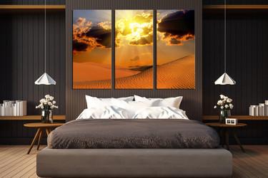 3 piece multi panel canvas, bedroom huge canvas art, landscape large canvas, desert artwork, orange canvas art prints, sunset photo canvas