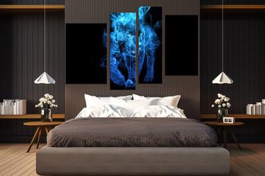 4 piece canvas wall art, bedroom huge canvas art, blue tiger wall decor, wildlife multi panel art, animal canvas photography