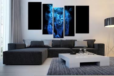 5 piece large pictures, living room canvas wall art, blue tiger decor, wildlife photo canvas, animal canvas print, wildlife decor