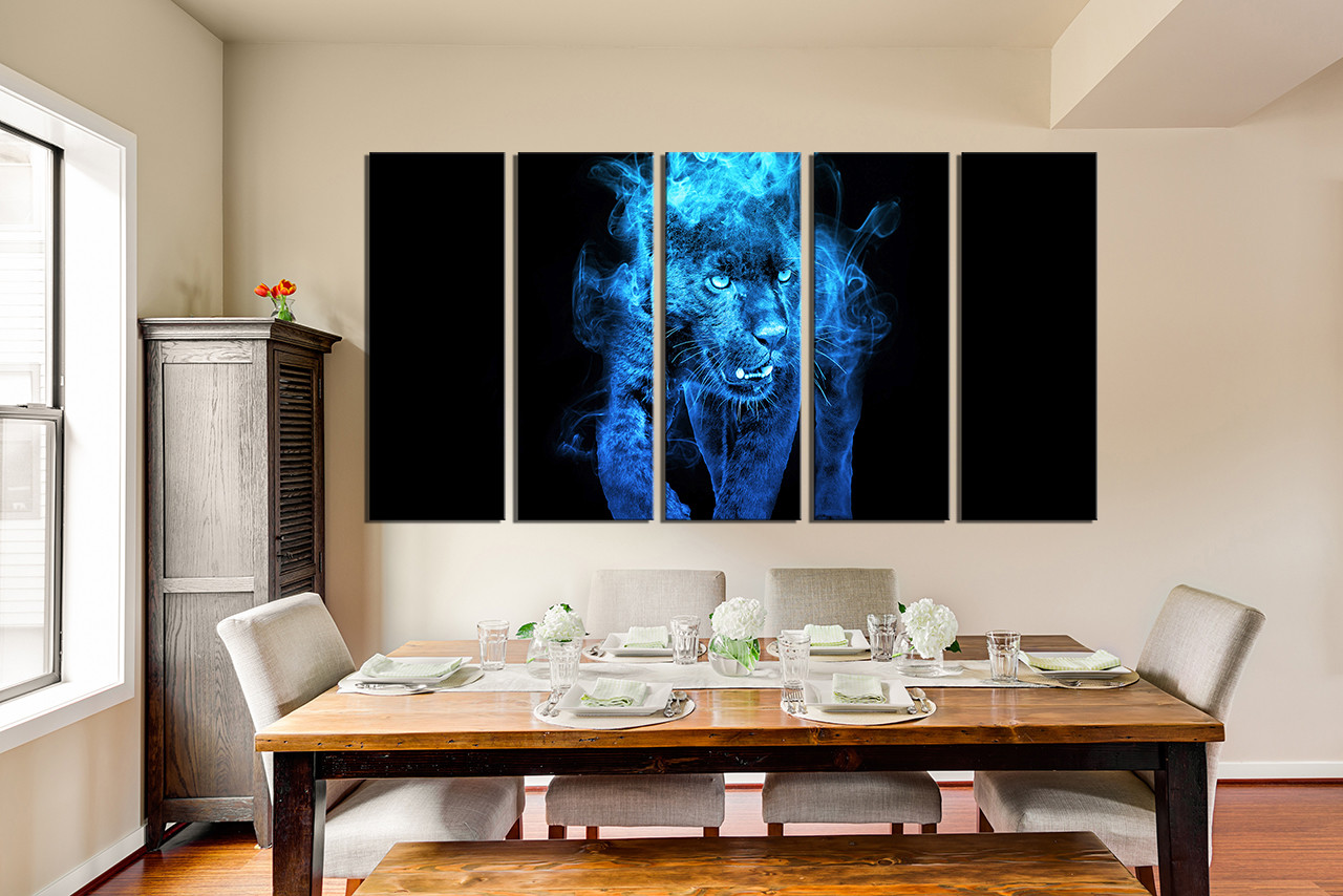 5 Piece Large Pictures Blue Canvas Wall Art Tiger Multi Panel
