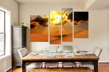 4 piece multi panel art, dining room huge canvas print, landscape group canvas, desert art, orange canvas photography, sunset canvas wall art