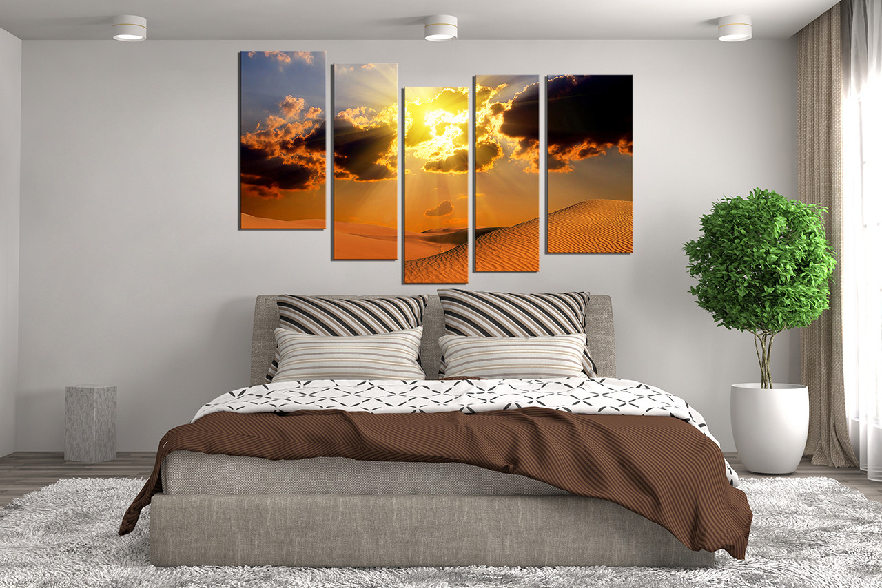 5 Piece Artwork Landscape Canvas Photography Desert Multi Panel Canvas Orange Canvas Wall Art Sunset Large Pictures