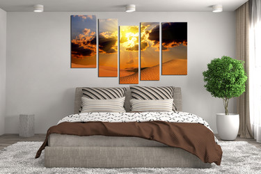 5 piece canvas art prints, bedroom wall art, landscape group canvas, desert canvas art prints, orange large pictures, sunset artwork