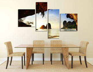 4 piece huge pictures, dining room canvas photography, sea wall art, ocean multi panel art, yellow canvas print