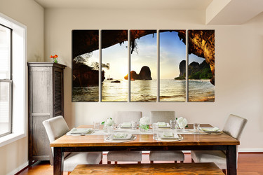 5 piece large canvas, dining room artwork, yellow canvas print, ocean huge canvas art