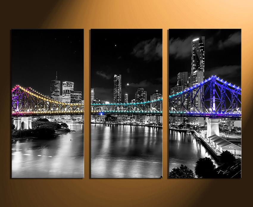 delightful City Wall Art Part - 6: 3 piece large canvas, city home decor, night city photo canvas, bridge  artwork