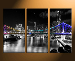 3 piece large canvas, city home decor, night city photo canvas, bridge artwork, black and white city