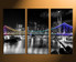3 piece large canvas, city home decor, night city photo canvas, bridge artwork, black and white city