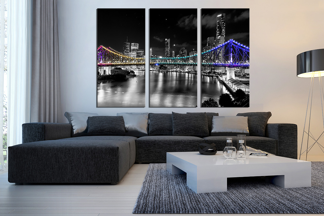 3 piece wall decor living room wall decor black and white city art