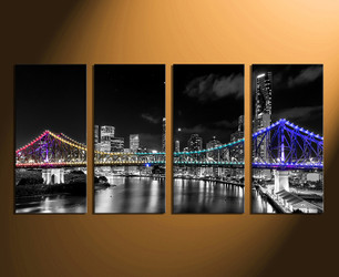 4 piece wall decor, city home decor, night city huge canvas print, city wall decor, bridge multi panel art