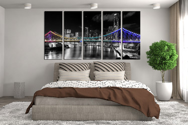 5 piece wall decor, bedroom huge canvas print, night city large canvas,  city group canvas, bridge wall art
