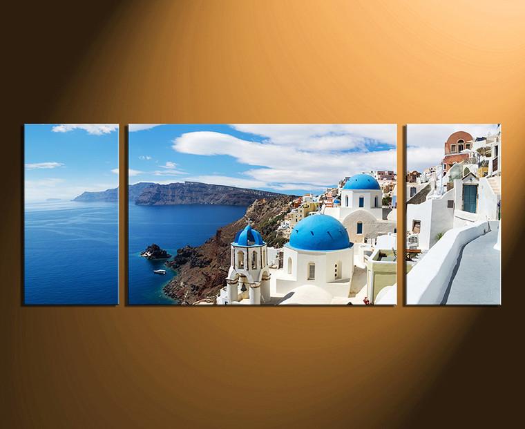 3 piece multi panel art, ocean wall decor, white city photo canvas, city huge canvas print