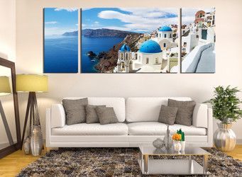 3 piece group canvas, living room artwork, ocean large pictures, white city  art work,  blue ocean