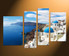 4 piece wall art, ocean home decor, white city large canvas, blue ocean art, city canvas photography
