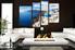 4 piece wall decor, living room canvas print, city multi panel art, blue ocean wall art,   city art
