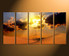 5 piece canvas wall art, home decor, landscape artwork, desert multi panel canvas, orange canvas art prints, sunset canvas photography