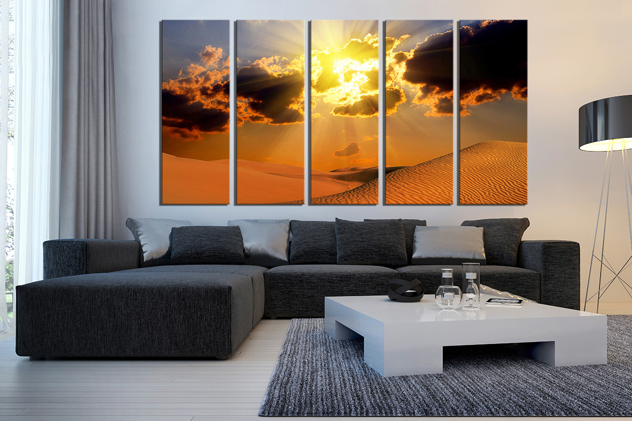 5 Piece Wall Decor Landscape Canvas Print Desert Huge Canvas Art Orange Canvas Art Prints Sunset Canvas Photography