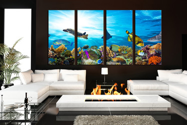 4 piece canvas print, living room canvas wall art, blue artwork, turtle multi panel art, fish huge pictures, wildlife art