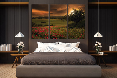 3 piece wall art, bedroom large pictures, scenery canvas photography, green art, sunrise multi panel art