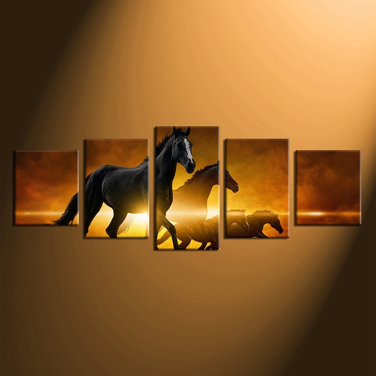 5 piece canvas wall art, home decor, horse group canvas, wildlife multi panel canvas, animal large pictures
