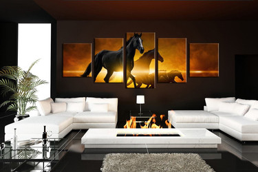 5 piece canvas photography, living room canvas print, horse canvas wall art, wildlife group canvas, animal decor, panoramic artwork