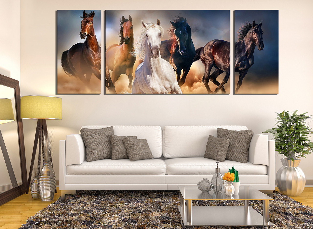3 Piece Canvas Wall Art Horses Wall Decor Panoramic Canvas