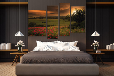 4 piece huge pictures, bedroom multi panel canvas, scenery artwork, green wall decor, sunrise canvas art prints