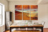 3 piece art, brown ocean large pictures, dining room group canvas, stars multi panel art