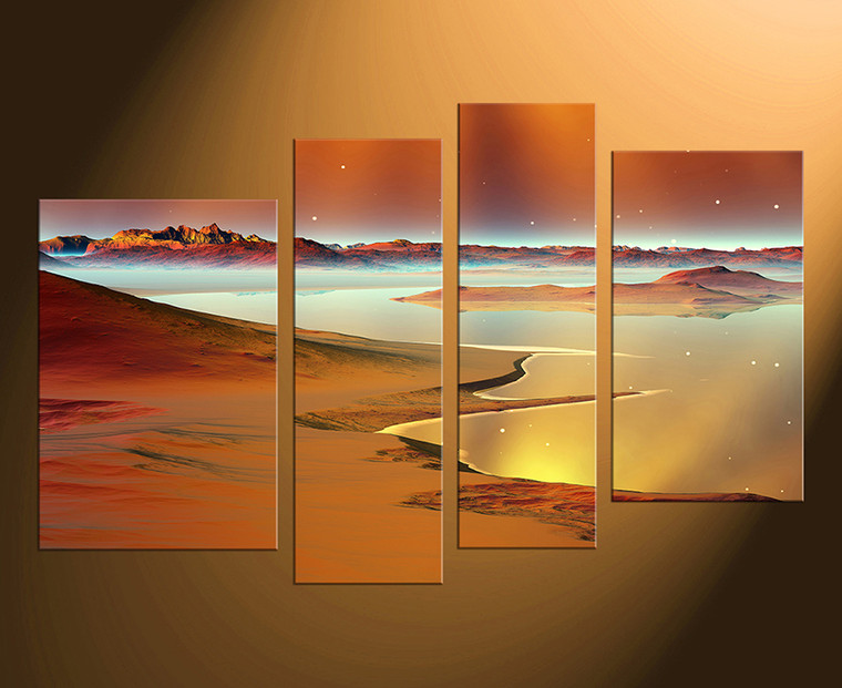4 piece art, brown ocean large pictures, home decor, stars multi panel art