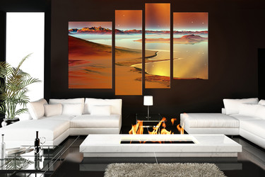 4 piece huge canvas art, brown ocean large canvas, living room multi panel canvas, stars large pictures