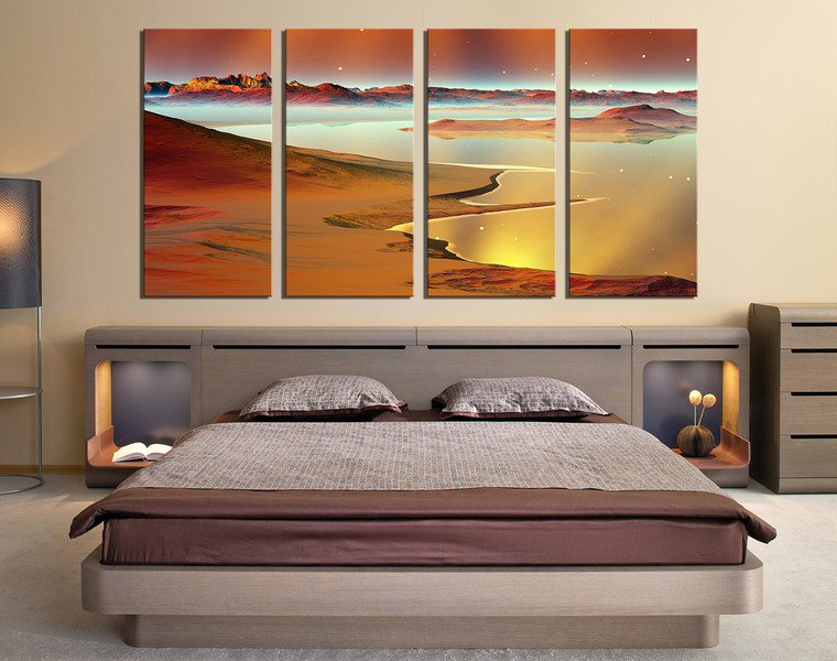 4 piece large canvas, brown sea multi panel canvas, ocean canvas photography, bed room huge canvas print