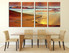 4 piece artwork, brown ocean large pictures, dining room wall decor, stars multi panel art