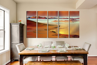 5 piece photo canvas, brown sea huge canvas art, dining room large pictures, stars wall decor