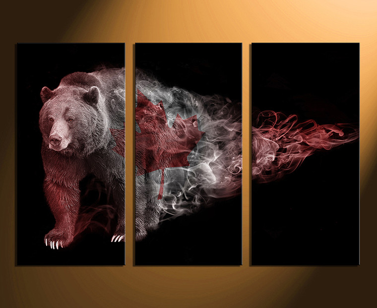 3 piece large canvas, home decor, bear multi panel art, wildlife group canvas, brown bear canvas photography