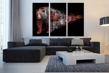 3 piece photo canvas, living room multi panel canvas, brown bear canvas photography, wildlife canvas wall art