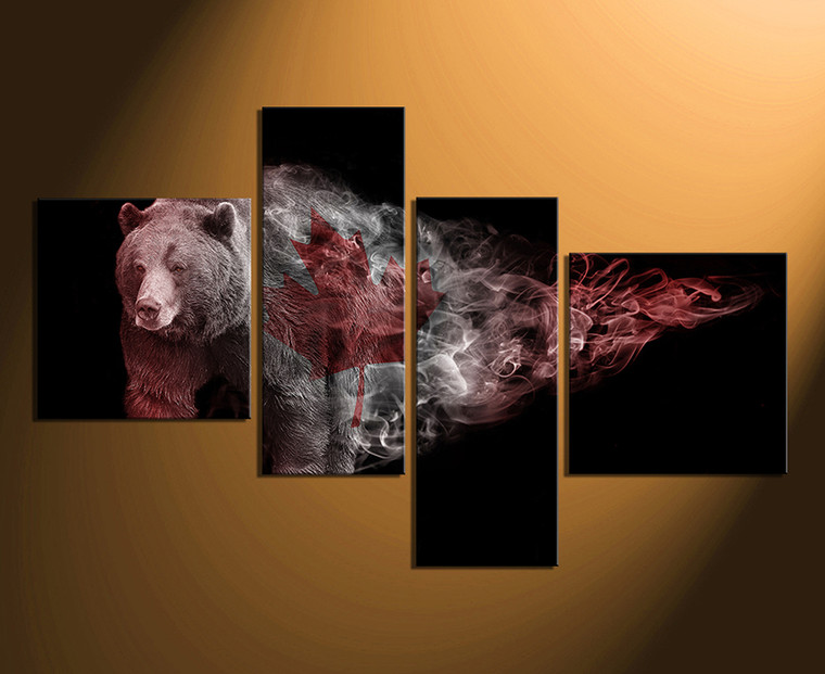4 piece canvas print, brown bear large pictures, wildlife photo canvas, animal canvas print, animal art, home decor