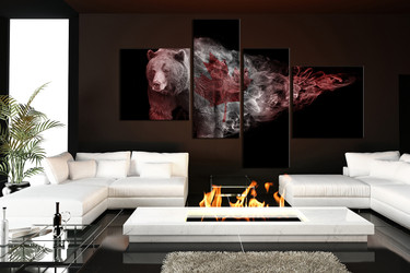 4 piece canvas photography, brown bear huge pictures, wildlife group canvas, animal canvas print, animal art, living room art