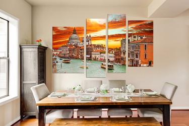 4 piece canvas wall art, dining room wall art, city wall decor, orange canvas print, city huge canvas art