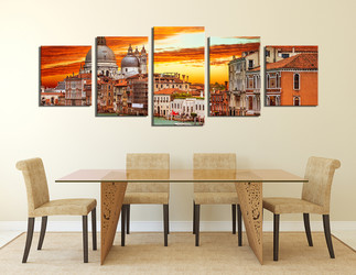 5 piece canvas photography, dining room multi panel  art, gondola large pictures, city canvas photography