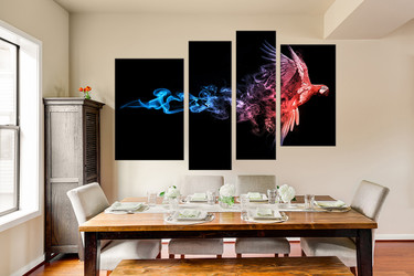 4 piece canvas wall art, dining room huge pictures, red parrot canvas print, wildlife artwork