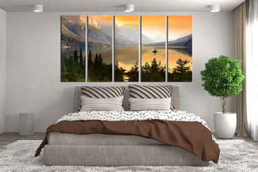5 piece photo canvas, bedroom artwork, landscape wall decor, green canvas photography, scenery art
