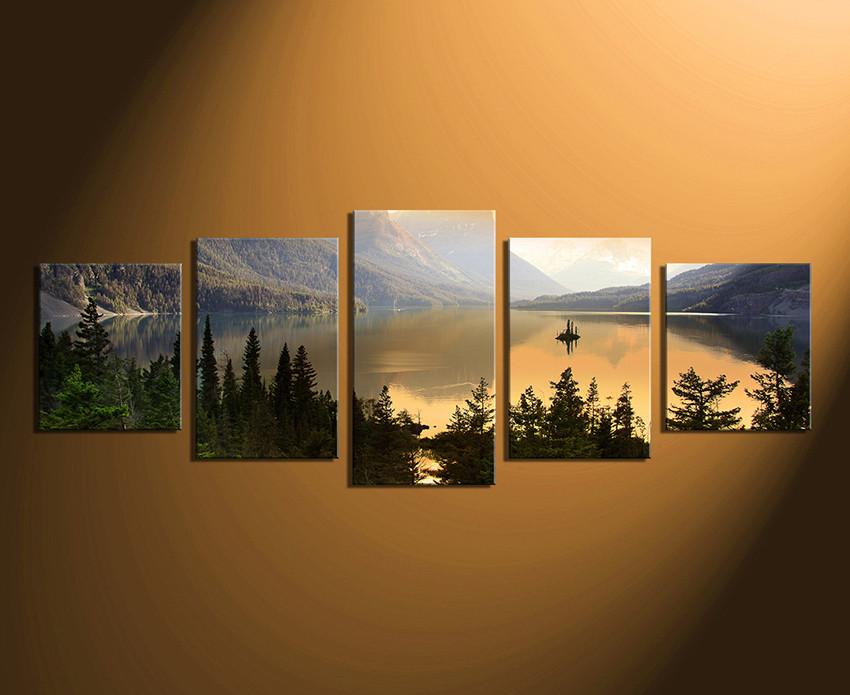 5 Piece Multi Panel Canvas Landscape Canvas Print Green Huge