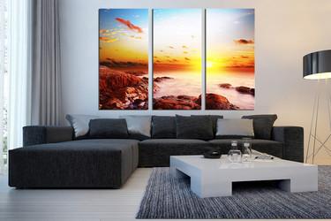 3 piece canvas print,  living room artwork, yellow sun photo canvas, ocean huge canvas art