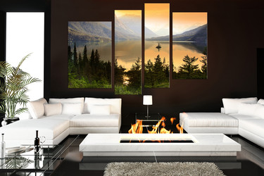4 piece wall decor, living room canvas print, scenery multi panel art, mountain huge pictures, landscape art, green nature artwork