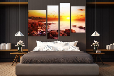 4 piece large pictures, yellow sun photo canvas, ocean multi panel canvas, rock wall art, bedroom huge canvas art