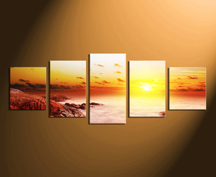 5 piece multi panel canvas, panoramic large canvas, yellow sun group canvas, home decor