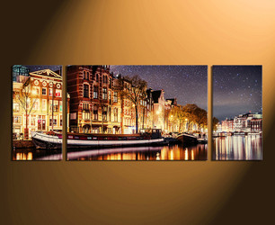3 piece wall art, gondola wall art, city wall decor, city light canvas print, yellow city huge canvas print
