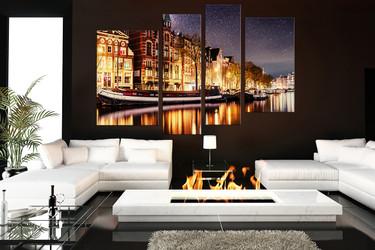 4 piece multi panel canvas, living room multi panel art, gondola canvas art print,  city large canvas