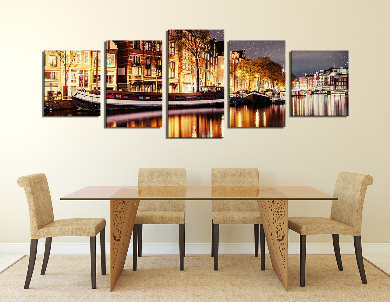 Delicieux 5 Piece Huge Pictures, Gondola Canvas Art Prints, Panoramic Large Canvas,  Lake Group Canvas, Yellow Multi Panel Canvas, Cityscape Canvas Wall Art