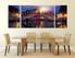 3 piece wall decor, sunrise group canvas, city large canvas, blue city art, dining room art